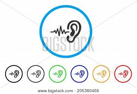 Hearing Signal rounded icon. Style is a flat hearing signal grey symbol inside light blue circle with black, gray, green, blue, red, orange versions. Vector designed for web and software interfaces.
