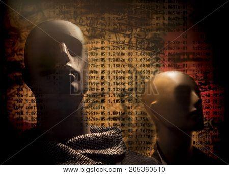 Manikin in shop window, digital composition, conceptual image, concept spent poster