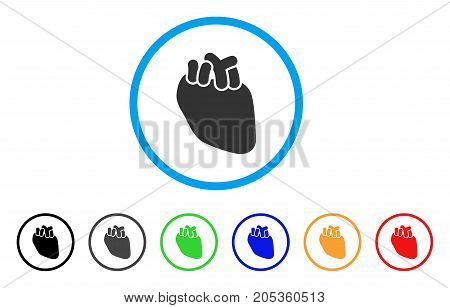 Heart Organ rounded icon. Style is a flat heart organ grey symbol inside light blue circle with black, gray, green, blue, red, orange variants. Vector designed for web and software interfaces.
