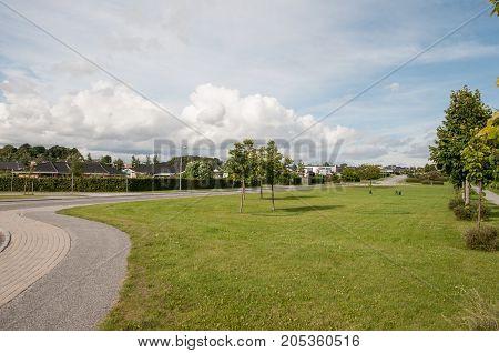 Suburbs of Naestved in Denmark on a summer day