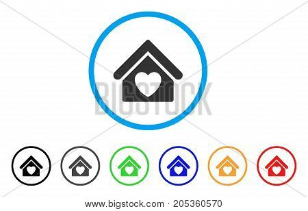 Hospice rounded icon. Style is a flat hospice gray symbol inside light blue circle with black, gray, green, blue, red, orange color versions. Vector designed for web and software interfaces.