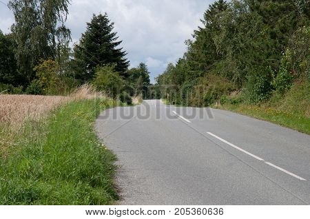 The Main Road In The Island Of Oroe In Denmark