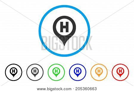 Hospital Letter Marker rounded icon. Style is a flat hospital letter marker gray symbol inside light blue circle with black, gray, green, blue, red, orange variants.