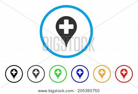 Hospital Place Marker rounded icon. Style is a flat hospital place marker gray symbol inside light blue circle with black, gray, green, blue, red, orange color versions.