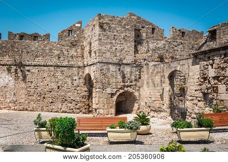 Ruins of old medieval fortress in Rhodes town on Rhodes island, Greece