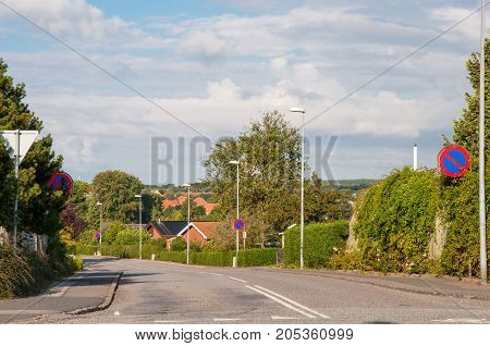 road in town of Naestved in Denmark