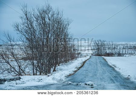 An Iced Road On The Island Of Hrisey In Northern Iceland