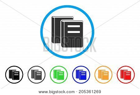 Library Books rounded icon. Style is a flat library books gray symbol inside light blue circle with black, gray, green, blue, red, orange color versions.