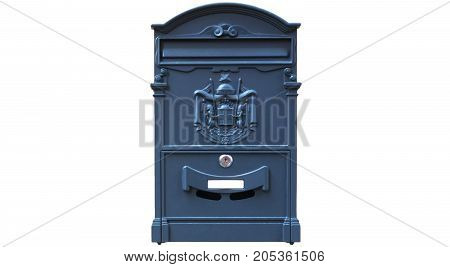 A Blue mailbox isolated on white background