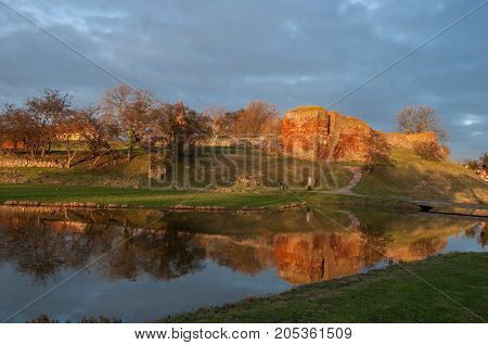 Vordingborg castle ruins in Denmark with reflection in the water