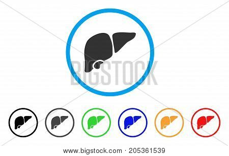 Liver rounded icon. Style is a flat liver gray symbol inside light blue circle with black, gray, green, blue, red, orange variants. Vector designed for web and software interfaces.
