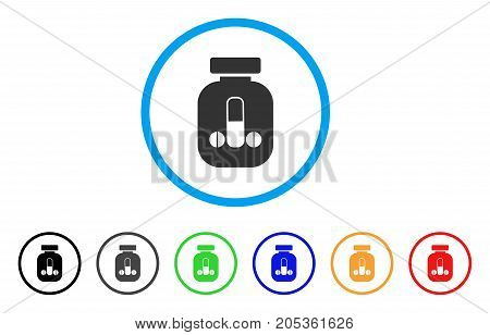 Male Power Vial rounded icon. Style is a flat male power vial grey symbol inside light blue circle with black, gray, green, blue, red, orange variants. Vector designed for web and software interfaces.