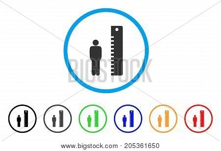 Man Height rounded icon. Style is a flat man height grey symbol inside light blue circle with black, gray, green, blue, red, orange versions. Vector designed for web and software interfaces.