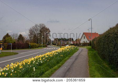 Lovvej road in town of Mogenstrup in Denmark