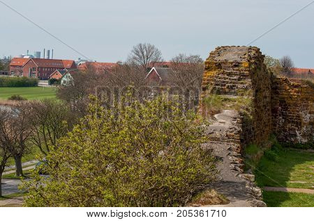 castle wall at Vordingborg castle ruins in Denmark