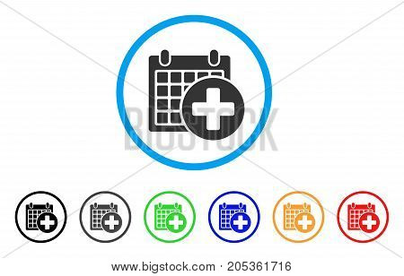 Medical Appointment rounded icon. Style is a flat medical appointment gray symbol inside light blue circle with black, gray, green, blue, red, orange versions.
