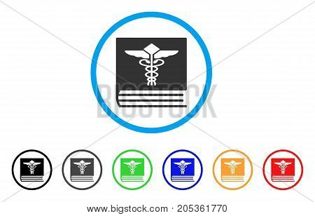 Medical Book rounded icon. Style is a flat medical book gray symbol inside light blue circle with black, gray, green, blue, red, orange variants. Vector designed for web and software interfaces.