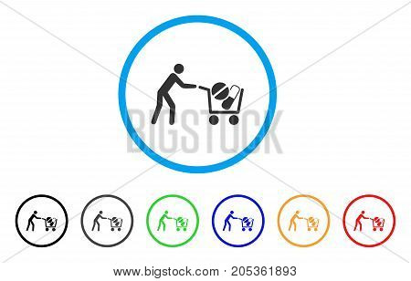 Medical Drugs Buyer Cart rounded icon. Style is a flat medical drugs buyer cart grey symbol inside light blue circle with black, gray, green, blue, red, orange color versions.