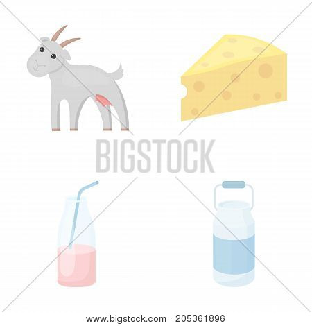 Goat, a piece of cheese and other products. Milk set collection icons in cartoon style vector symbol stock illustration .