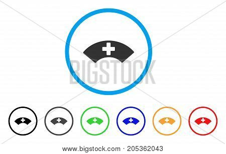 Medical Visor rounded icon. Style is a flat medical visor gray symbol inside light blue circle with black, gray, green, blue, red, orange versions. Vector designed for web and software interfaces.