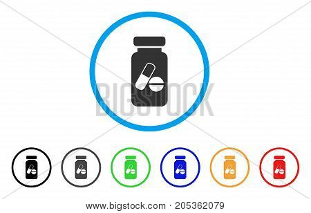 Medication Vial rounded icon. Style is a flat medication vial gray symbol inside light blue circle with black, gray, green, blue, red, orange versions. Vector designed for web and software interfaces.