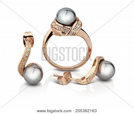 Golden jewelry set with pearls isolated on white clipping path