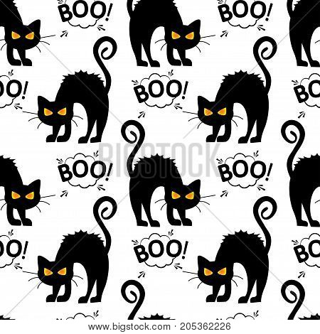 Abstract seamless pattern for girls or boys. Creative vector background with cat cloud boo halloween. Funny wallpaper for textile and fabric. Fashion style. Colorful bright picture for children.