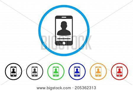 Mobile Person Contact rounded icon. Style is a flat mobile person contact grey symbol inside light blue circle with black, gray, green, blue, red, orange versions.