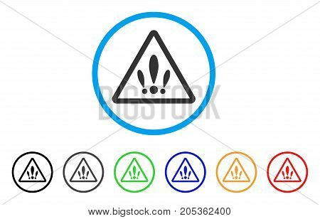 Multiple Problems rounded icon. Style is a flat multiple problems grey symbol inside light blue circle with black, gray, green, blue, red, orange color versions.