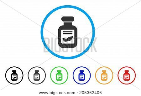 Natural Drugs Vial rounded icon. Style is a flat natural drugs vial gray symbol inside light blue circle with black, gray, green, blue, red, orange variants.