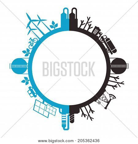 Solar energy wind energy. Dirty city factories air pollution. Earth Day. World environment day. Ecology design concept with air water and soil pollution. Flat icons isolated vector illustration.