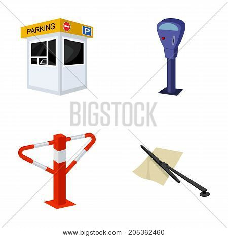 A parking lot, a parking meter, a check for services, a barrier. Parking zone set collection icons in cartoon style vector symbol stock illustration .