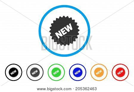 New Sticker rounded icon. Style is a flat new sticker grey symbol inside light blue circle with black, gray, green, blue, red, orange variants. Vector designed for web and software interfaces.