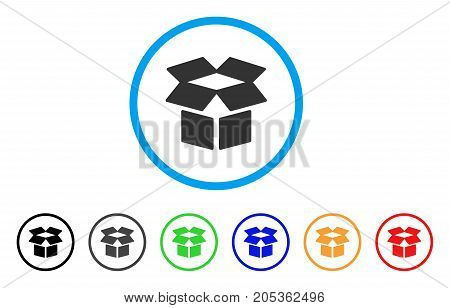 Open Box rounded icon. Style is a flat open box gray symbol inside light blue circle with black, gray, green, blue, red, orange versions. Vector designed for web and software interfaces.
