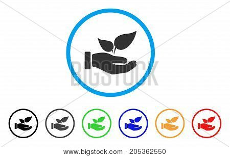 Organic Supplement Hand rounded icon. Style is a flat organic supplement hand grey symbol inside light blue circle with black, gray, green, blue, red, orange color versions.