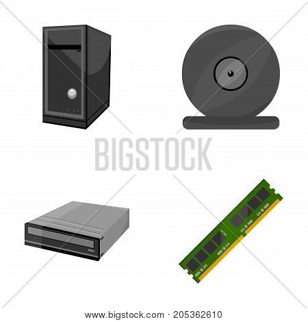 System unit, memory card and other equipment. Personal computer set collection icons in cartoon style vector symbol stock illustration .