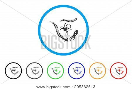Parasites rounded icon. Style is a flat parasites grey symbol inside light blue circle with black, gray, green, blue, red, orange versions. Vector designed for web and software interfaces.