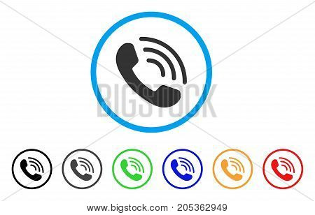 Phone Ring rounded icon. Style is a flat phone ring gray symbol inside light blue circle with black, gray, green, blue, red, orange variants. Vector designed for web and software interfaces.