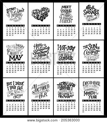 Vector calendar for months 2 0 1 8. Hand drawn lettering quotes for calendar design vector illustration