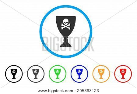 Poison Cup rounded icon. Style is a flat poison cup grey symbol inside light blue circle with black, gray, green, blue, red, orange versions. Vector designed for web and software interfaces.