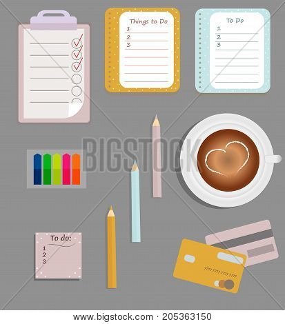 Stationery: The sheets of the planner in a cute polka dots. To Do Lists with little hearts. Multi-colored stiсkers. Cup with coffee on saucer. Credit cards.Vector illustration.