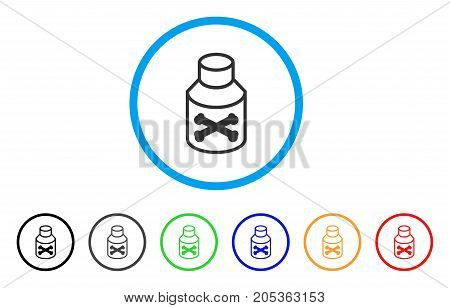 Poison Phial rounded icon. Style is a flat poison phial grey symbol inside light blue circle with black, gray, green, blue, red, orange variants. Vector designed for web and software interfaces.