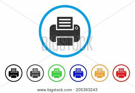 Printer rounded icon. Style is a flat printer gray symbol inside light blue circle with black, gray, green, blue, red, orange variants. Vector designed for web and software interfaces.
