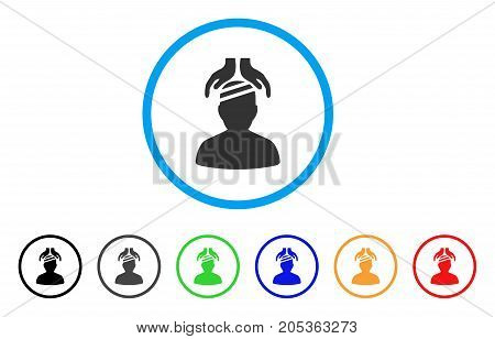 Psychiatry Patient Cure Hands rounded icon. Style is a flat psychiatry patient cure hands gray symbol inside light blue circle with black, gray, green, blue, red, orange color versions.