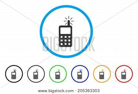 Radio Transmitter Radiation rounded icon. Style is a flat radio transmitter radiation gray symbol inside light blue circle with black, gray, green, blue, red, orange color versions.
