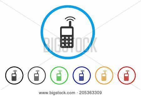 Radio Transmitter Signal rounded icon. Style is a flat radio transmitter signal gray symbol inside light blue circle with black, gray, green, blue, red, orange color versions.