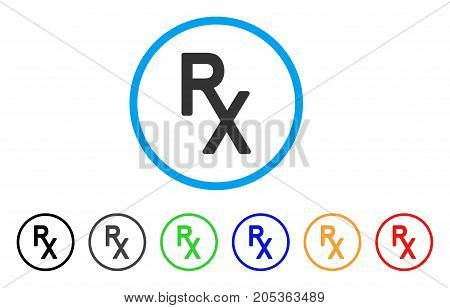 Rx Medical Symbol rounded icon. Style is a flat rx medical symbol gray symbol inside light blue circle with black, gray, green, blue, red, orange color versions.