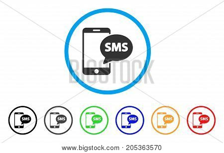 Send Phone SMS rounded icon. Style is a flat send phone sms gray symbol inside light blue circle with black, gray, green, blue, red, orange color versions.