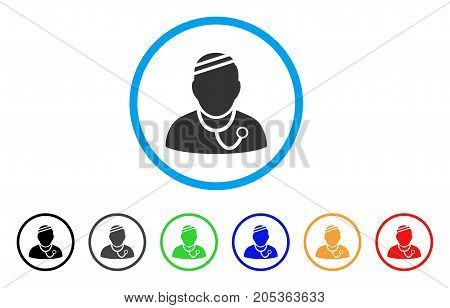 Sick Physician rounded icon. Style is a flat sick physician grey symbol inside light blue circle with black, gray, green, blue, red, orange variants. Vector designed for web and software interfaces.