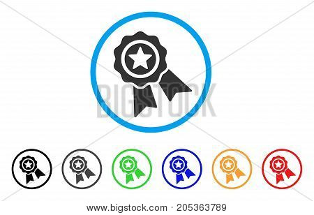 Star Quality Seal rounded icon. Style is a flat star quality seal grey symbol inside light blue circle with black, gray, green, blue, red, orange versions.